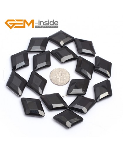 """G7247 18x25mm  Rhombus Faceted Smooth/ Faceted Black Agate Gemstone DIY Jewelry Making  Loose Beads Strand 15"""" Natural Stone Beads for Jewelry Making Wholesale`"""