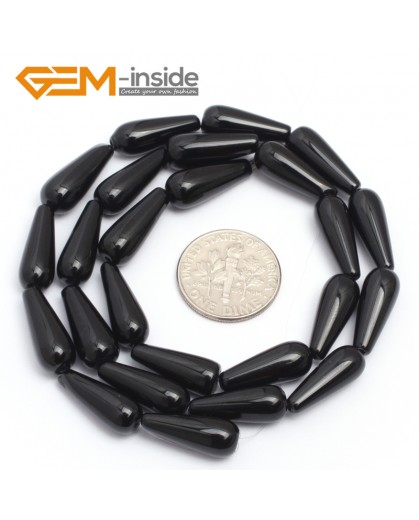 "G7250 6x16mm Teardrop Black Agate Onyx Gemstone Loose Beads Strands 15"" Natural Stone Beads for Jewelry Making Wholesale"