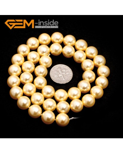 "G7277 Yellow 10mm Round Gemstone DIY Jewelry Making Pearl Shell Loose Beads strand 15"" Natural Stone Beads for Jewelry Making Wholesale`"