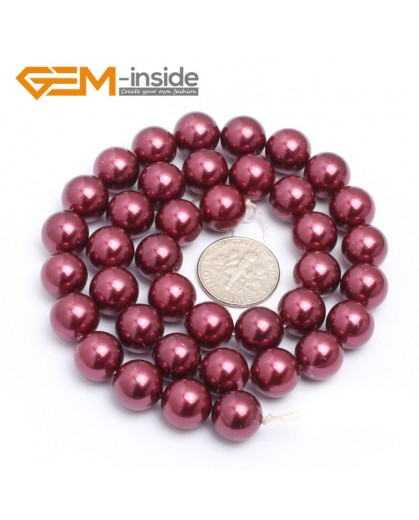 """G7282 Wine Red 10mm Round Gemstone DIY Jewelry Making Pearl Shell Loose Beads strand 15"""" Natural Stone Beads for Jewelry Making Wholesale`"""