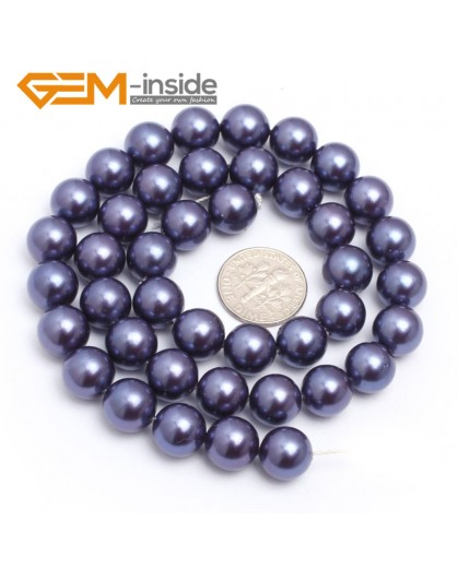 "G7287 Blue 10mm Round Gemstone DIY Jewelry Making Pearl Shell Loose Beads strand 15"" Natural Stone Beads for Jewelry Making Wholesale`"