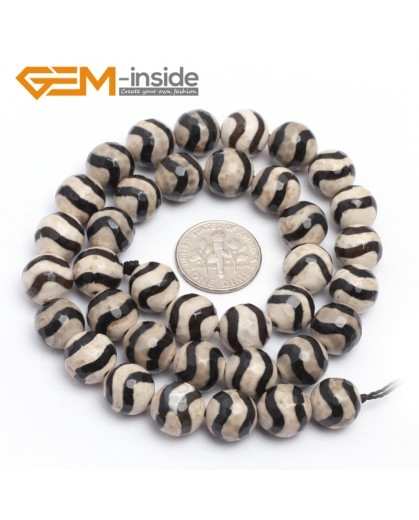 "G7301 White Wave 10mm Round Faceted Gemstone DIY Jewelry Making Banded Eye Fire Agate Beads 15"" Natural Stone Beads for Jewelry Making Wholesale`"