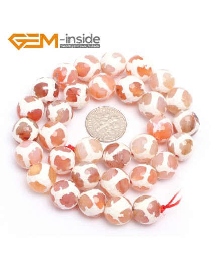 """G7325 Pink 12mm Round Faceted Gemstone DIYJewelry Crafts Making Banded Fire Agate Beads 15"""" Natural Stone Beads for Jewelry Making Wholesale`"""