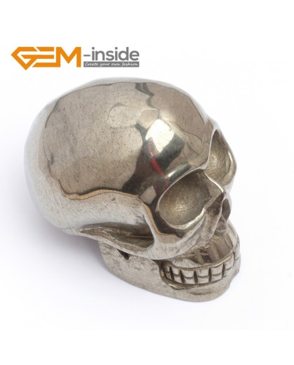 G7382 New pretty Skull shape silver gray pyrite Decoration 1 pcs sphere
