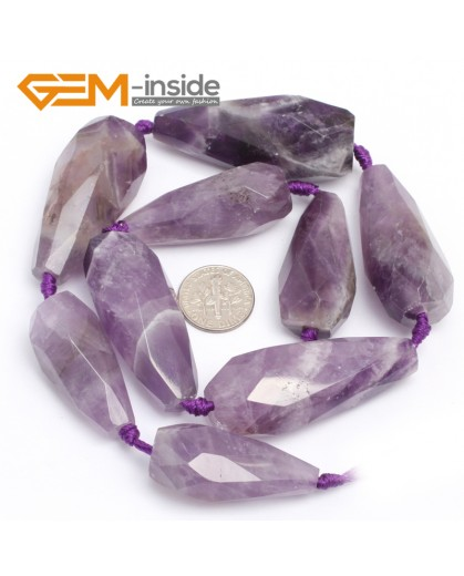 "G7410 Amethyst 18x34mm Drop Faceted Gemstone DIY Jewelry Making  Stone Loose Beads Strand 15"" Natural Stone Beads for Jewelry Making Wholesale`"
