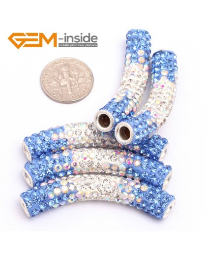 G7470 Gradient Light Blue 5Pcs Rhinestones Paved Tube Bracelet Connector Charm Beads Curved CZ Crystal Fashion Jewelry Jewellery Bracelets  for women