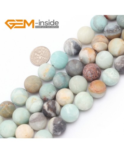 "G7486 14mm Mixed Color Round Frost Mixed Color Amazonite Gemstone Jewelry Making Loose Beads Strand 15"" Natural Stone Beads for Jewelry Making Wholesale"