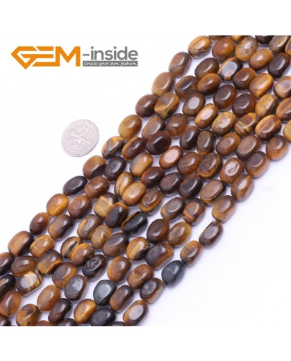 "G7492  8x12mm freeform Yellow Natural Tiger Eye Gemstone Beads Strand 15""  Natural Stone Beads for Jewelry Making Wholesale"