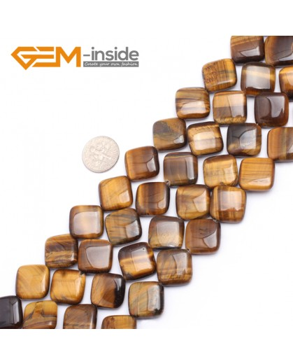 "G7494 16mm Square Diagonal Natural Tiger Eye Beads Strand  15""  Natural Stone Beads for Jewelry Making Wholesale"