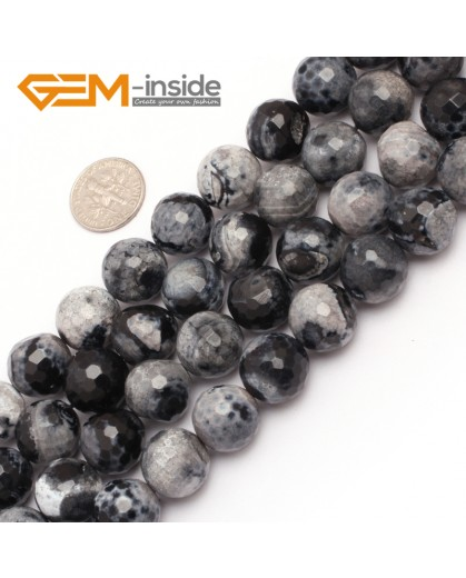 "G7524  14mm Round Faceted Gemstone Frost Agate DIY Jewelry Making Beads Strand 15""Natural Stone Beads for Jewelry Making Wholesale"