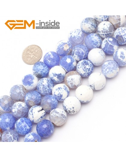 "G7525  14mm Round Faceted Gemstone Frost Agate DIY Jewelry Making Beads Strand 15""Natural Stone Beads for Jewelry Making Wholesale"
