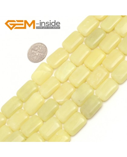 "G7530 13x18mm Rectangle Natural Gemstone Lemon Green Stone DIY Loose Beads 15""Natural Stone Beads for Jewelry Making Wholesale"
