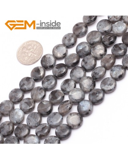 "G7537 10mm Coin Natural Gemstone Black Larvikite DIY Loose Stone Beads Strand 15"" Natural Stone Beads for Jewelry Making Wholesale"