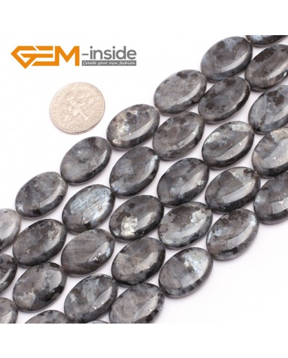 "G7541 13x18mm Oval Natural Gemstone Black Larvikite DIY Loose Stone Beads Strand 15"" Natural Stone Beads for Jewelry Making Wholesale"