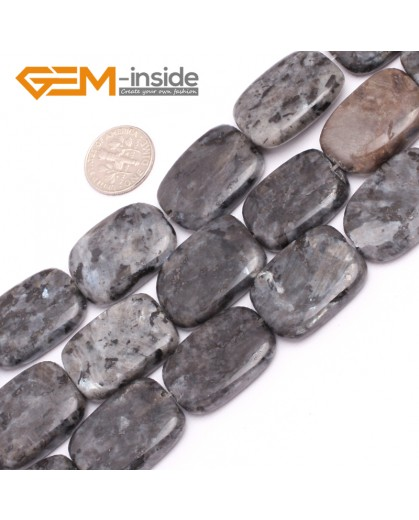 "G7544 18x25mm Rectangle Natural Gemstone Black Larvikite DIY Loose Stone Beads Strand 15"" Natural Stone Beads for Jewelry Making Wholesale"