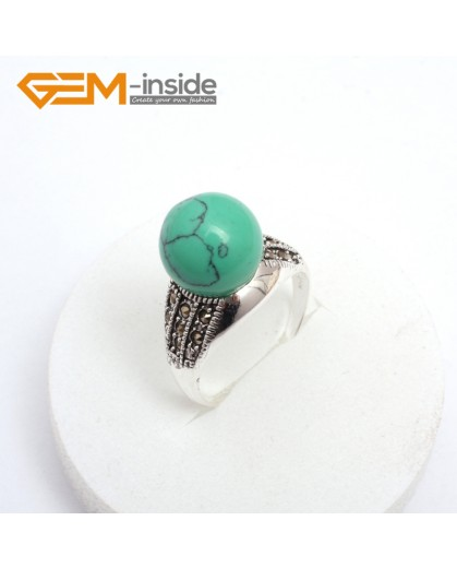 G7547 Dyed green turquoise Pretty 12mm round beads tibetan silver marcasite ring US #6-#9 11 materials pick Rings Fashion Jewelry Jewellery