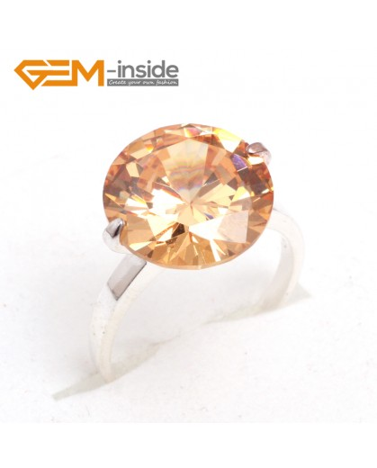 G7580 Semi citrine 14mm diamond-shaped beads tibetan silver ring fashion jewelry 8 materials select Rings Fashion Jewelry Jewellery