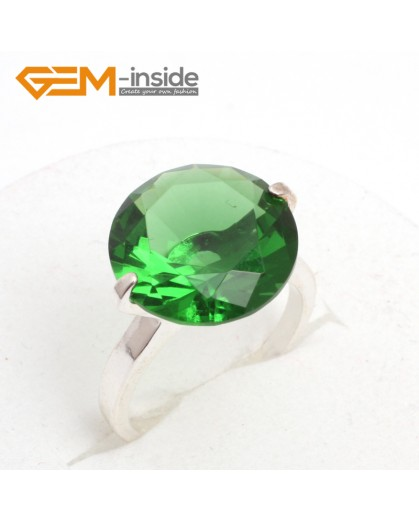 G7582 Semi emeralds 14mm diamond-shaped beads tibetan silver ring fashion jewelry 8 materials select Rings Fashion Jewelry Jewellery