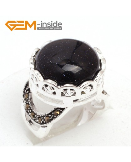 G7593 Blue sandstone Pretty 17mm button beads vintage tibetan silver marcasite ring 9 materials pick Rings Fashion Jewelry Jewellery