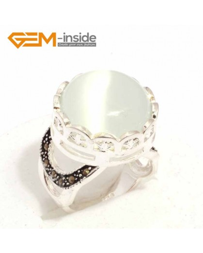 G7600 White cat eye Pretty 17mm button beads vintage tibetan silver marcasite ring 9 materials pick Rings Fashion Jewelry Jewellery