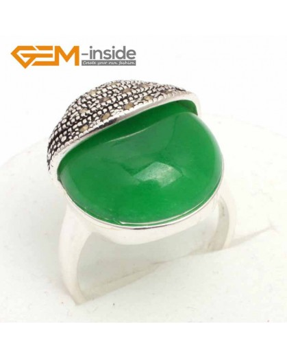 G7603 Dyed green jade Pretty 20mm Button Beads Vintage Tibetan Silver Marcasite Ring ,6 Materials Rings Fashion Jewelry Jewellery
