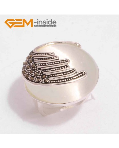 G7617 White cat eye Pretty 24mm button beads vintage tibetan silver marcasite ring 5 materials selec Rings Fashion Jewelry Jewellery