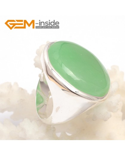 G7624 Dyed green aventurine cabochon 28mm tibetan silver rings for women | Rings Fashion Jewelry Jewellery