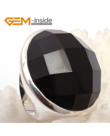 G7627 Natural faceted black agate 28mm cabochon tibetan silver rings for women Rings Fashion Jewelry Jewellery