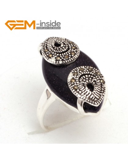 G7653 Blue sandstone Pretty 14x27mm marquise beads tibetan silver marcasite ring 6 materials select Rings Fashion Jewelry Jewellery