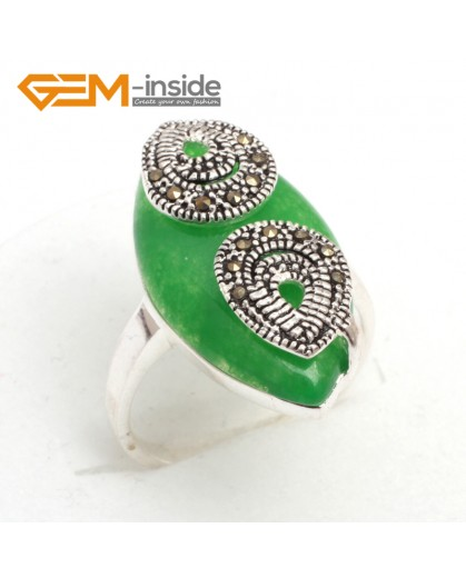 G7655 Dyed green jade Pretty 14x27mm marquise beads tibetan silver marcasite ring 6 materials select Rings Fashion Jewelry Jewellery