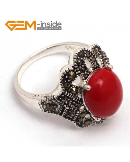G7684 Man-made red coral Fashion 10X12mm oval beads tibetan silver marcasite ring 18x22mm 6 materials Rings Fashion Jewelry Jewellery