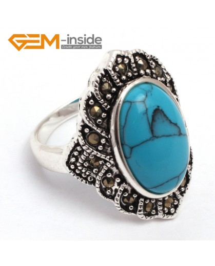 G7689 Dyed blue turquoise Fashion 10X16mm oval beads tibetan silver marcasite ring 21x26mm 6 materials Rings Fashion Jewelry Jewellery