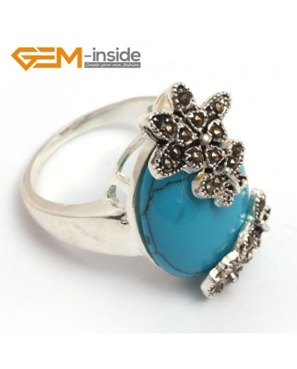 G7695 Dyed blue turquoise Fashion 16x28mm oval beads butterfly tibetan silver marcasite ring 8 materials Rings Fashion Jewelry Jewellery