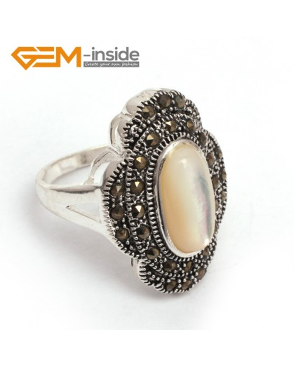 G7708 White shell Pretty oval beads flower tibetan silver marcasite ring 19x27mm 8 materials Rings Fashion Jewelry Jewellery
