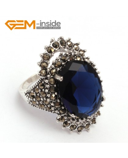 G7720 Faceted semi sapphire Pretty 12x16mm oval beads tibetan silver marcasite ring 18x30m11 materials Rings Fashion Jewelry Jewellery