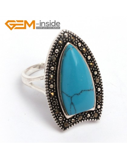 G7763 dyed blue turquoise G-beads 10x20mm Beads Tibetan Silver Marcasite Fashion Ring 18x30mm 6 Materials  Rings Fashion Jewelry Jewellery
