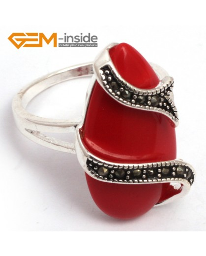 G7777 man-made red coral G-beads 14x24mm drip beads tibetan silver base marcasite snake fashion new ring Rings Fashion Jewelry Jewellery