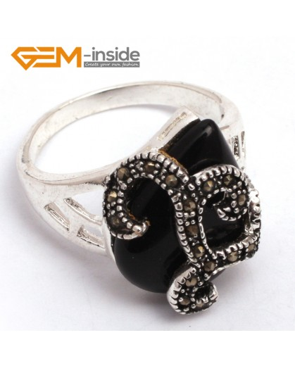 G7784 black agate G-beads 16x20mm drip beads tibetan silver base marcasite snake trendy new ring Rings Fashion Jewelry Jewellery