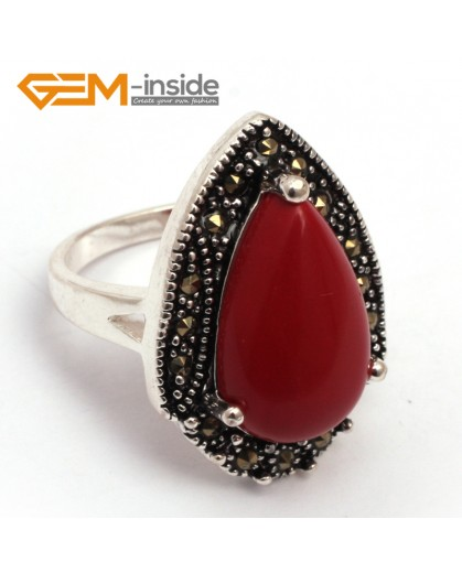 G7818 man-made red coral 12x20mm drip beads tibetan silver base marcasite trendy ring 19x27mm  jewelry Rings Fashion Jewelry Jewellery