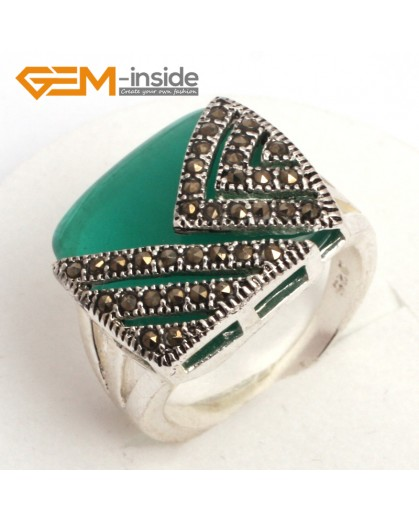 G7829 green agate Trendy 18mm square  beads tibetan silver base marcasite ring jewelry material Rings Fashion Jewelry Jewellery