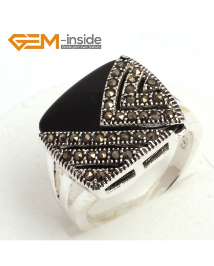 G7831 black agate Trendy 18mm square  beads tibetan silver base marcasite ring jewelry material Rings Fashion Jewelry Jewellery