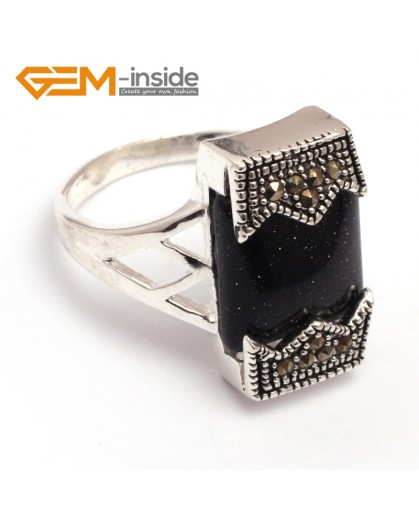 G7842 blue sand stone Fashional 12x20mm rectangle beads tibetan silver base marcasite jewelry ring Rings Fashion Jewelry Jewellery