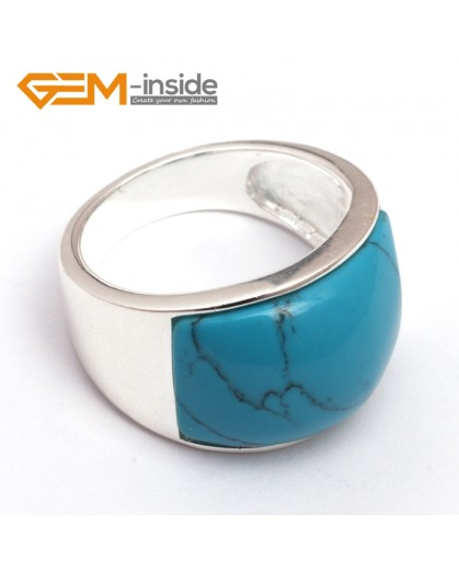 G7867 dyed blue turquoise 16x19mm mixed beads tibetan silver base ring  6 materials select free gift box Rings Fashion Jewelry Jewellery