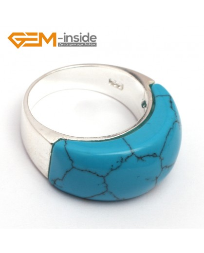 G7873 dyed blue turquoise Pretty mixed beads tibetan silver base ring 10x22mm 6 materials selectable Rings Fashion Jewelry Jewellery