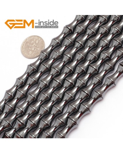 """G7888 8x12mm Natural Bamboo Shape Black Hematite Magnetic DIY Loose Beads Strand 15"""" Natural Stone Beads for Jewelry Making Wholesale"""