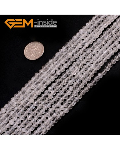 "G7891 4mm Natrual Crack White Quartz Round Gemstone Tiny Jewelry Making Loose Spacer Beads Strand 15"" Natural Stone Beads for Jewelry Making Wholesale"