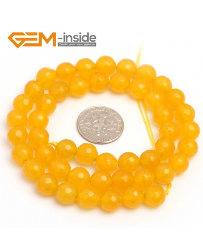 "G7896 8mm Round Faceted Yellow Jade Beads Strand 15"" Stone Beads for Jewelry Making Wholesale"