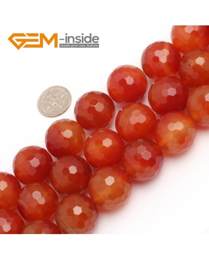 "G7901 20mm Round Faceted Gemstone Natural Red Carnelian Agate Stone Beads Strand 15"" Natural Stone Beads for Jewelry Making Wholesale"