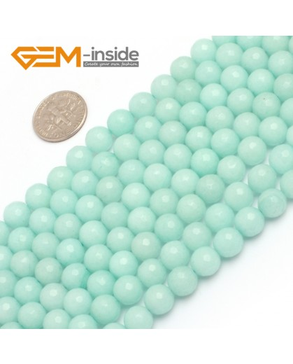 """G7907 8mm Round Faceted Sky Blue Jade DIY Loose Beads Strand 15"""" Natural Stone Beads for Jewelry Making Wholesale"""