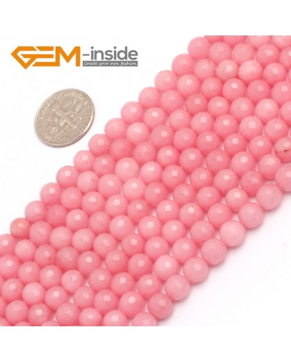 "G7909 6mm Round Faceted Pink Jade Loose Beads Strand 15"" Natural Stone Beads for Jewelry Making Wholesale"